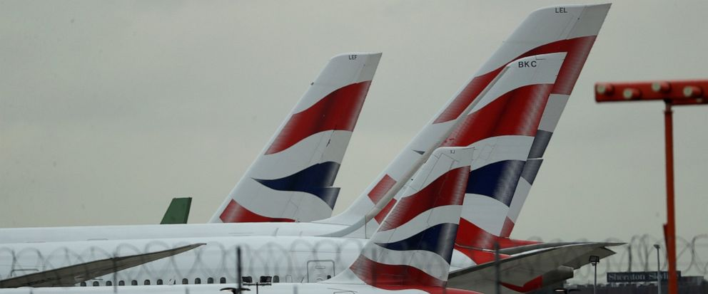 British Airways planes sit parked at Heathrow Airport in London, Monday, Sept. 9, 2019. British Airways says it has had to cancel almost all flights as a result of a pilots 48-hour strike over pay. (AP Photo/Matt Dunham)