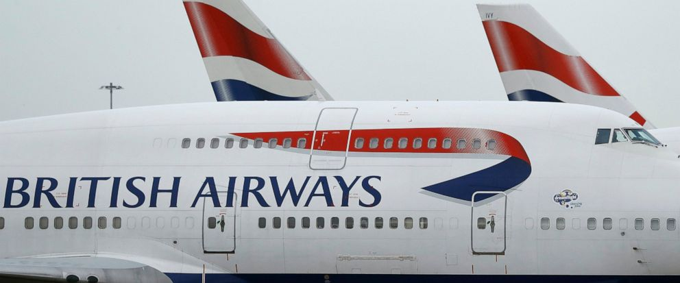 FILe - In this file photo dated Tuesday, Jan. 10, 2017, British Airways planes are parked at Heathrow Airport in London.  The U.K. data regulator, the Information Commissioners Office said Monday July 8, 2019, it is fining British Airways 18