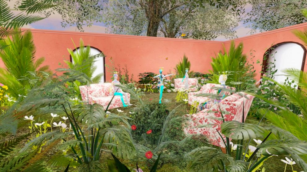 This computer generated image shows a Gucci virtual garden on Roblox. Anyone whose avatar is traipsing around the Roblox online game platform these days might run into other avatars sporting Gucci handbags, sunglasses or hats. The digital-only items