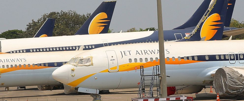 Jet Airways aircrafts are seen parked at Chhatrapati Shivaji Maharaj International Airport in Mumbai, Monday, April 15, 2019. Indias ailing Jet Airways has drastically reduced operations amid talks with investors to purchase a controlling stake in t