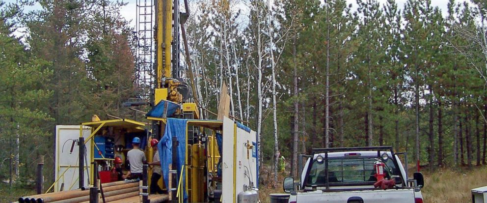 FILE - In this Oct. 4, 2011 file photo, a prospecting drill rig bores into the bedrock near Ely, Minn., in search of copper, nickel and precious metals that Twin Metals Minnesota LLC, hopes to mine near the Boundary Waters Canoe Area Wilderness in no