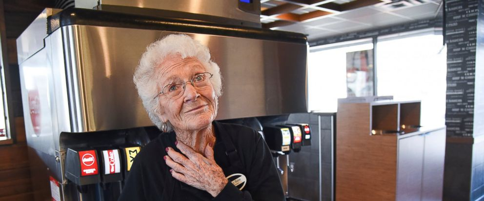 After 25 years at Arbys in Millcreek, Utah, 94-year-old Dorothy Bale has no plans to retire from the job she started when she was 69. Pausing from her duties at the end of her shift, Bale reflects on a time when she had to vacuum carpets, two renova