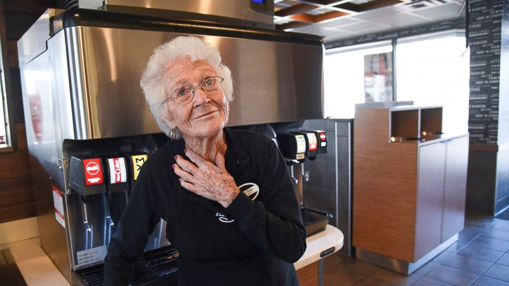 After 25 years at Arby's in Millcreek, Utah, 94-year-old Dorothy Bale has no plans to retire from the job she started when she was 69. Pausing from her duties at the end of her shift, Bale reflects on a time when she had to vacuum carpets, two renovations, working under 21 different managers and friends who have died.(Francisco Kjolseth/The Salt Lake Tribune via AP)