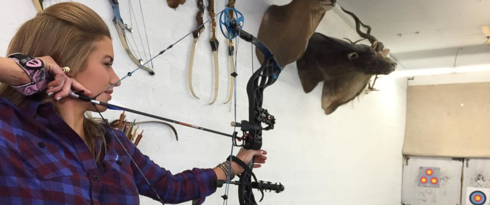 "Professional hunter Eva Shockey, 27, seen here with a bow during an interview with ""Nightline."""