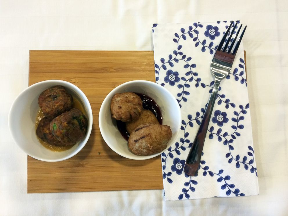 PHOTO: A first sampling of the new veggie and chicken balls from IKEA.