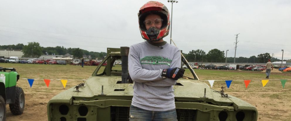 Kim Potocki, a mother of two and part-time Little League coach from Chelsea, Michigan, is shown here at the demolition derby, Metal Mayhem 2015 in Pecatonica, Illinois.