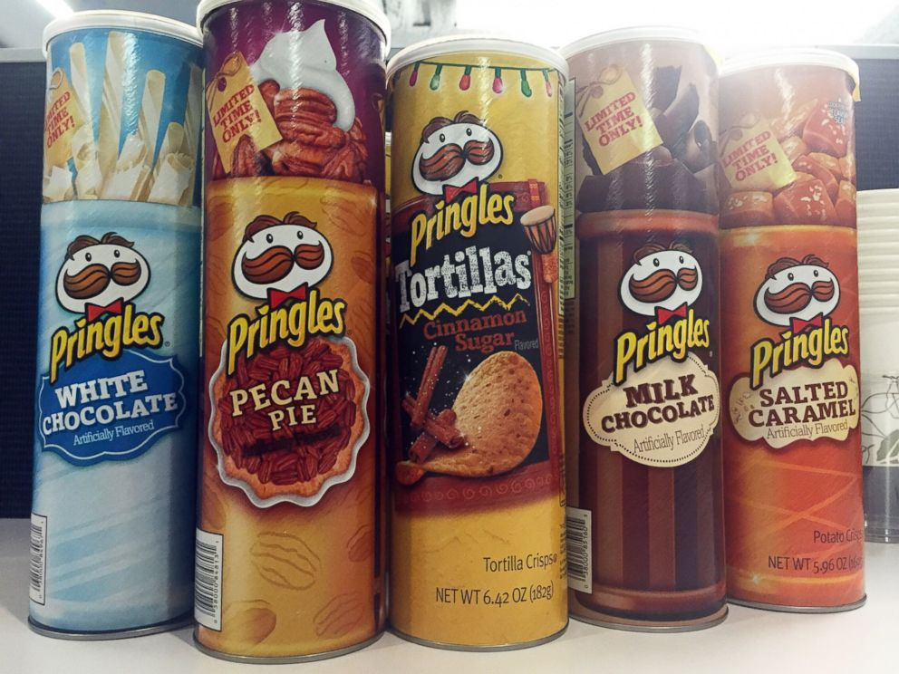 PHOTO: Containers of holiday-flavored Pringles are pictured at ABC News in New York.