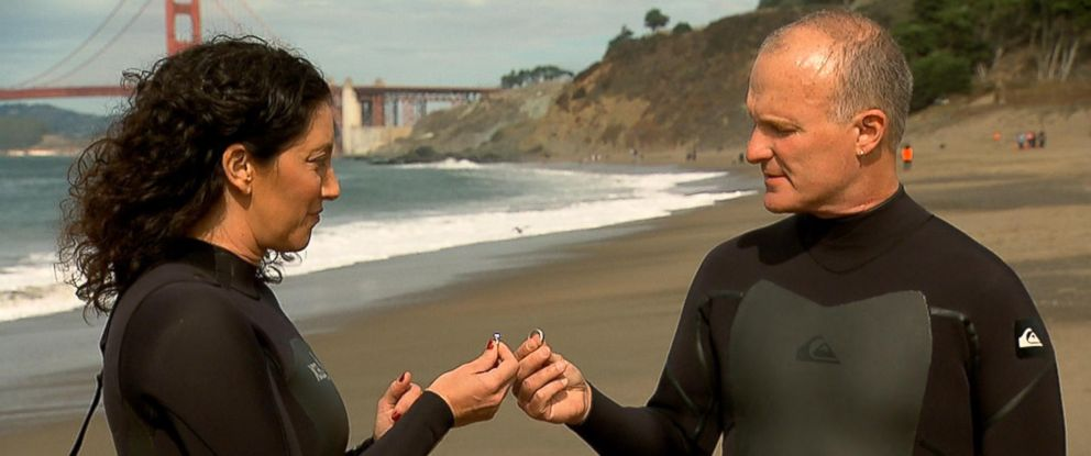 """Clark and Valerie Tate gave each other back their wedding rings in an """"uncoupling"""" ceremony on a California beach."""