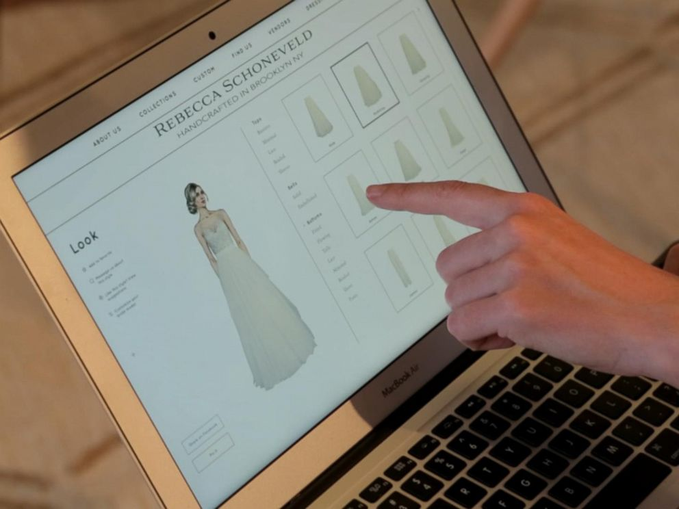 Designer Rebecca Schoneveld created an app for brides to scroll through her entire collection and pick and choose features from different dresses.