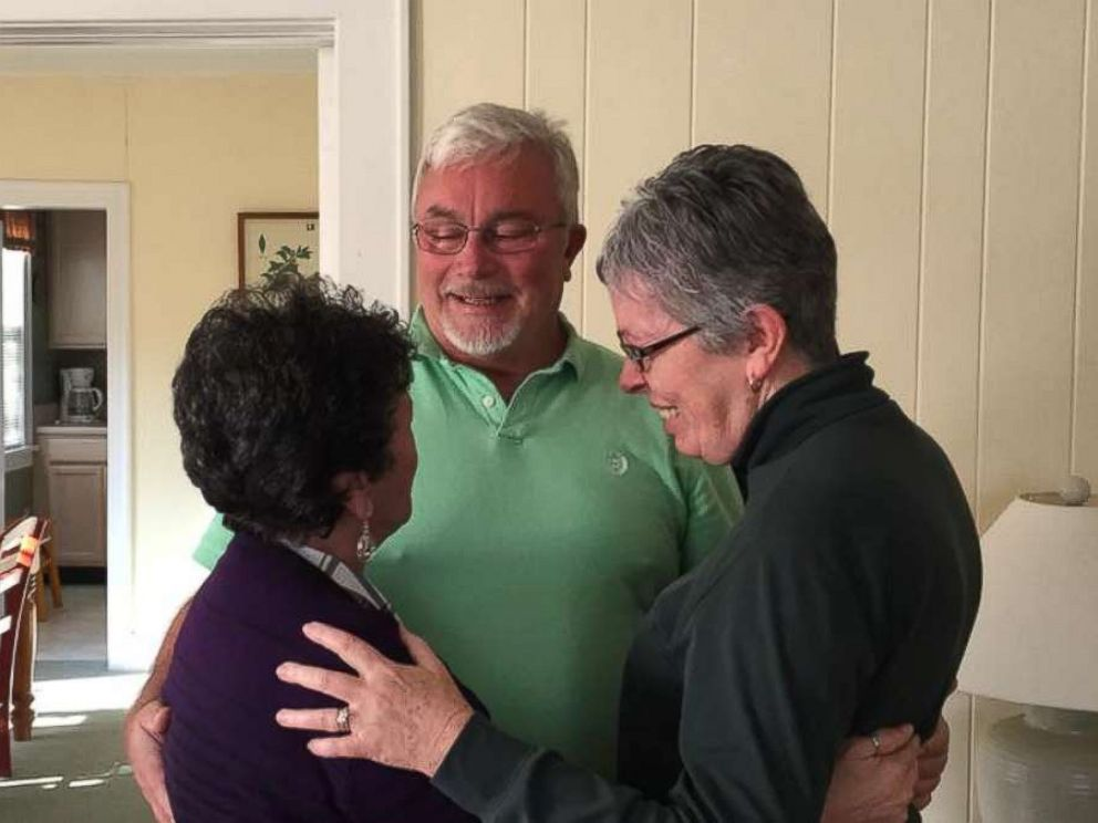 PHOTO: Siblings Sylvia Faison Graves Kewer, Billy Lee Ray, and Nancy Goode ODonnell meet for the first time on Nov. 11, 2017.