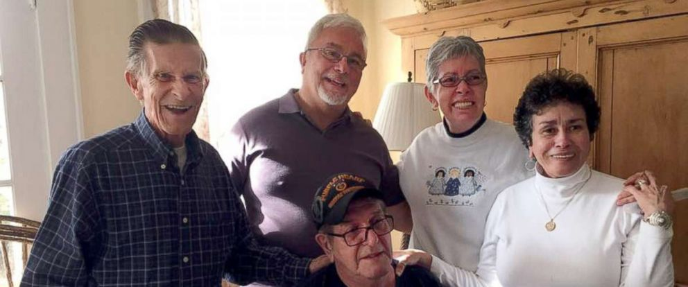 PHOTO: Left to right: Siblings Curtis Duff, Billy Ray, Nancy Goode ODonnell, Sylvia Faison Graves Kewer and Ralph Duff met for the first time on Nov. 11, 2017 in Abingdon, Virginia.