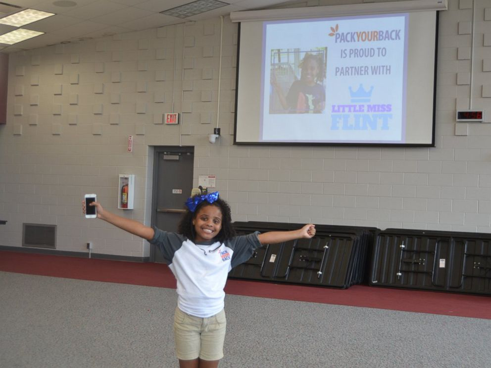 PHOTO: Amariyanna Mari Copeny known as Little Miss Flint raised 1,000 backpacks and $10,000 with the help of non-profit Pack Your Bag for students in Flint, Mich.