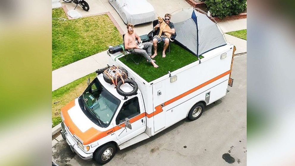 Ian Dow, 33, of Newport Beach, Calif., bought an ambulance for $2,800 and has been traveling the world in it.