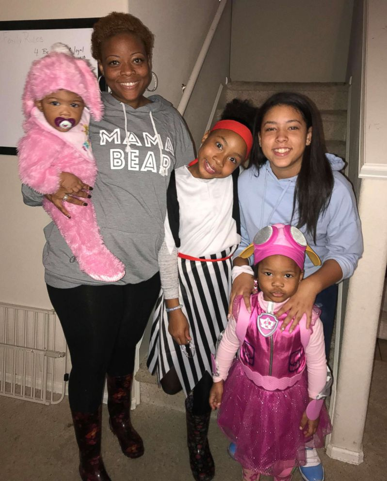 PHOTO: Angel Taylor, 34, of Arlington, Texas, seen with her four children, Jordyn, 12, Juliyn, 9 Jaxsyn, 3 and Jestyn, 9 months. Taylor is expecting her fifth child, another girl, on May 3, 2018.