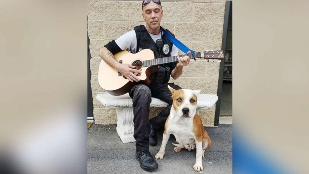 Chad Olds performed with his guitar and sang to the kennel of adoptable dogs at Friends of Vance County Animal Shelter in North Carolina on Feb. 13, 2018.