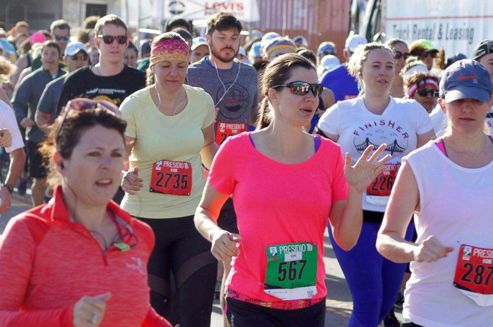Dr. Anne Peled (#567) runs a 10K race at the Presidio in San Francisco on April 22., 2018.