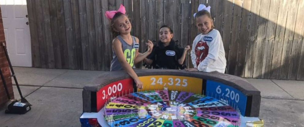 "PHOTO: Anthony Alfanos ""Wheel of Fortune"" Halloween costume is interactive so he can play with friends."