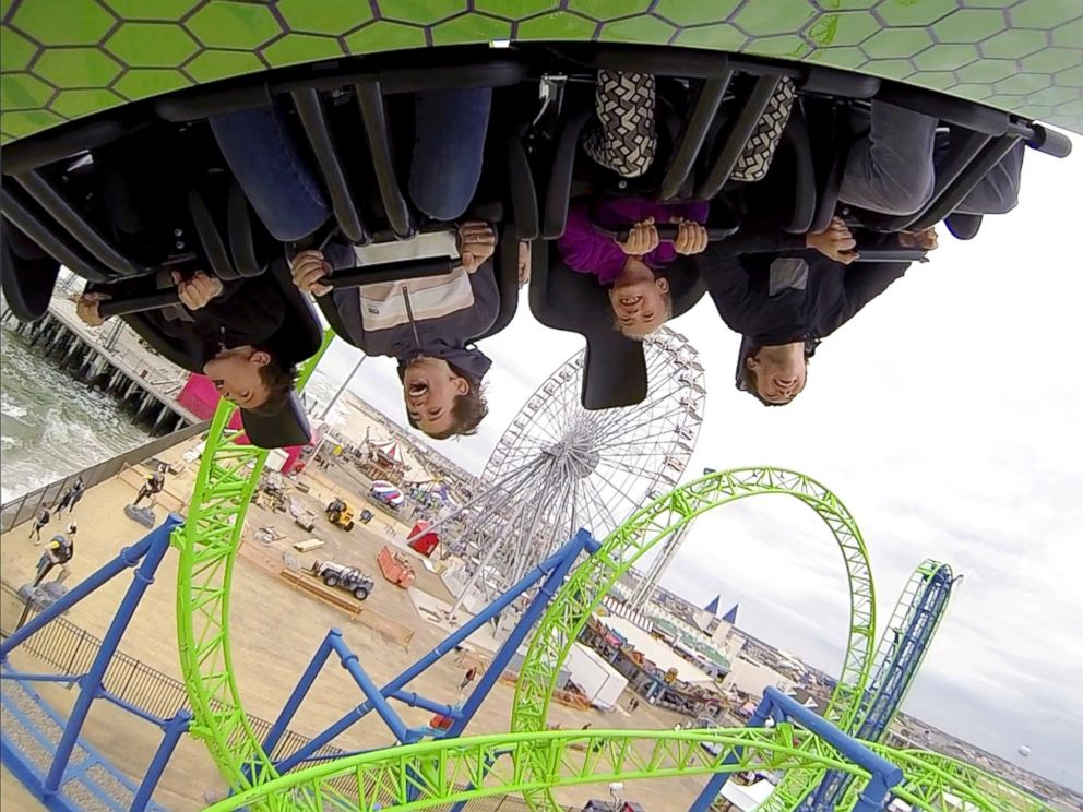 PHOTO: People ride the new Hydrus roller coaster on the Casino Pier in Seaside Heights, N.J., May 20, 2017.