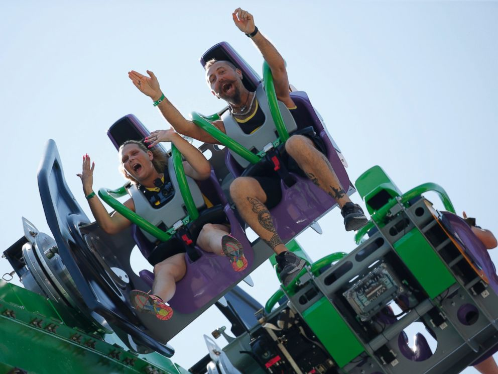 PHOTO: People ride The Joker, at Six Flags Great Adventure, during the rides unveiling on May 26, 2016, in Jackson, N.J.