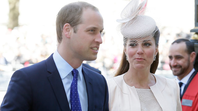 PHOTO: Prince William and Kate, Duchess of Cambridge, arrive for a service to celebrate the 60th anniversary of the coronation of Britains Queen Elizabeth II at Westminster Abbey, London, June 4, 2013.