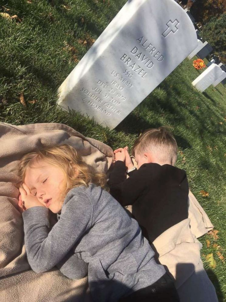 PHOTO: He is laying there taking a nap with his dad and Mason is beside him praying, said Kait Brazel.