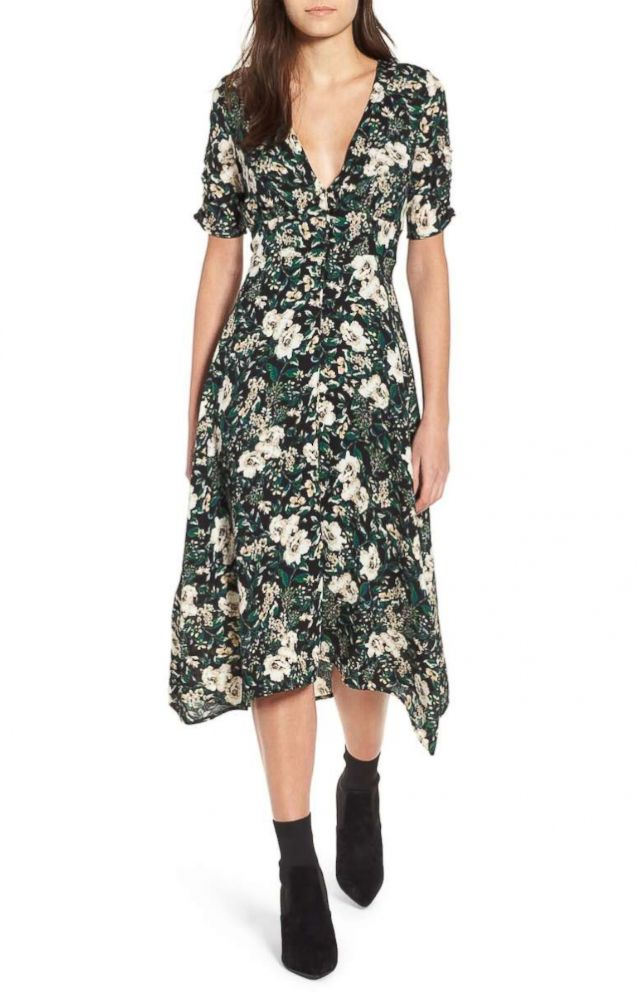 PHOTO: The Astr the Label Button Front Midi Dress is designed in a green ivory floral print with a deep-V neckline.