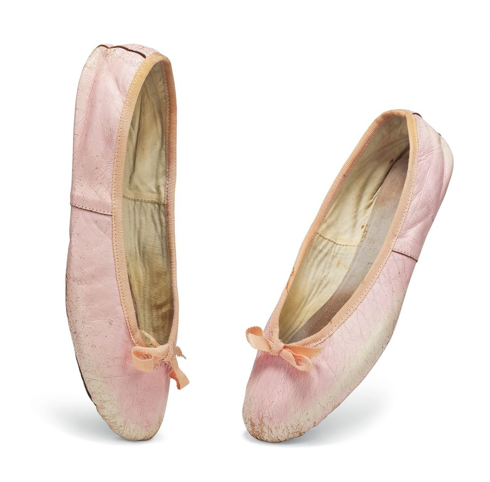 PHOTO: By family tradition, Audrey Hepburns pale pink leather ballet pumps were acquired from Capezio.