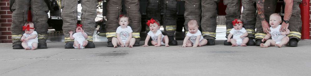 PHOTO: These firefighter colleagues experienced a serious baby boom after seven of them welcomed newborns just months apart in Glenpool, Okla.