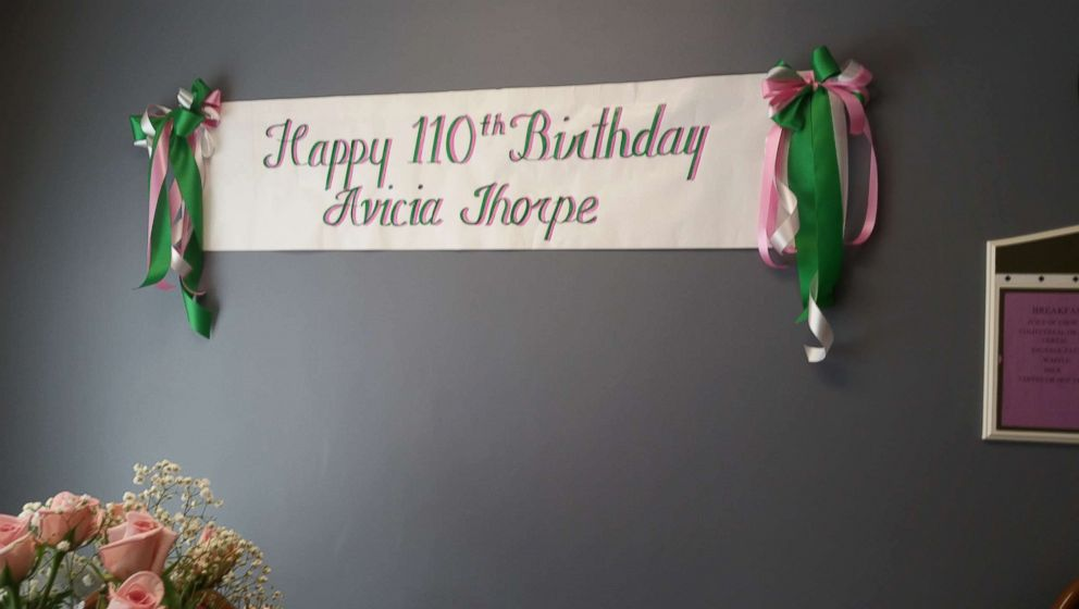 PHOTO: A banner hangs for Avicia Thorpes 110th birthday party in Danville, Va., April 16, 2018.