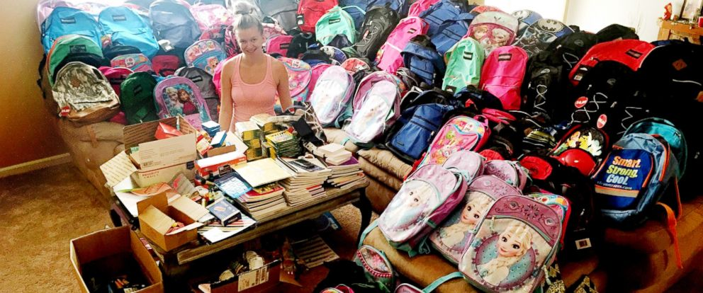 PHOTO: Destiny Klimaszewski of Foristell, Mo., started a school supplies drive on her late son Parkers birthday, June 23 and is ending it Aug. 3, 2018.