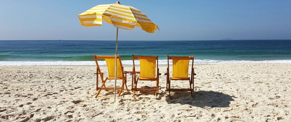 PHOTO: In this undated stock photo, beach chairs are lined up on a beach.