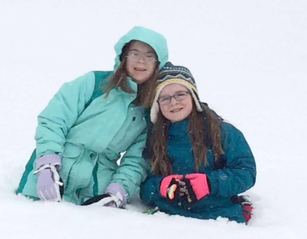 PHOTO: Penny Becker and her sister Marilee on a recent snow day.