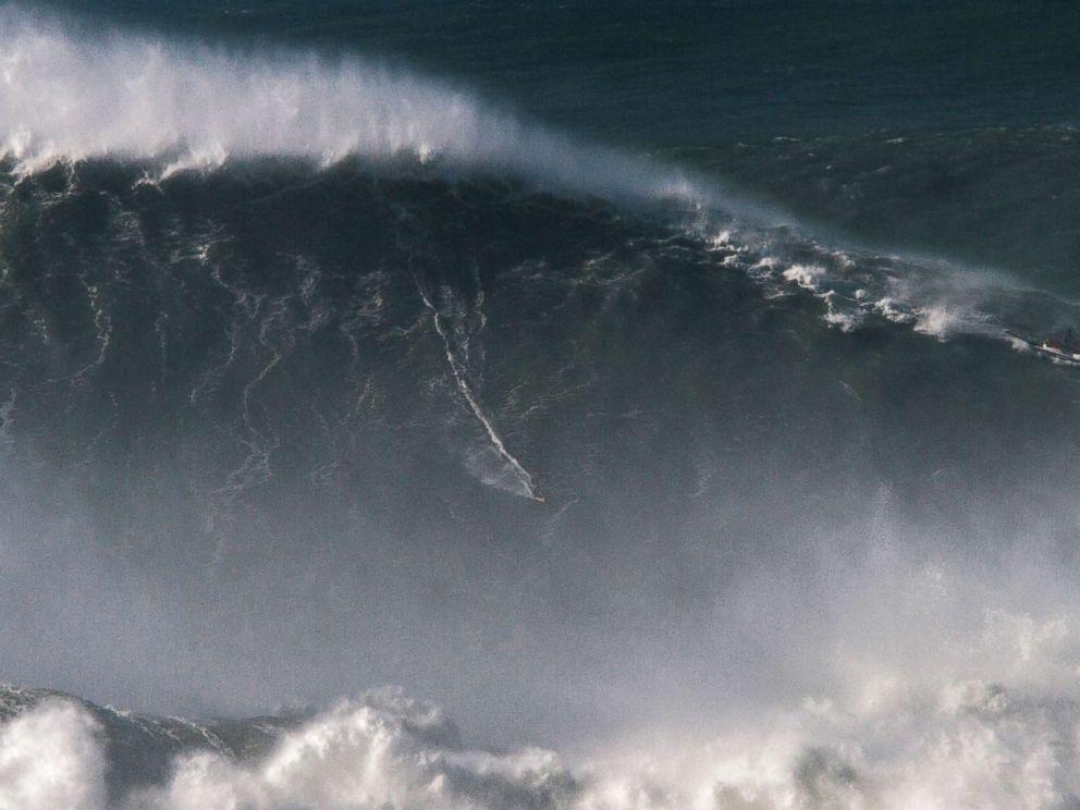 Rodrigo Koxa breaks record for world's biggest wave surfed