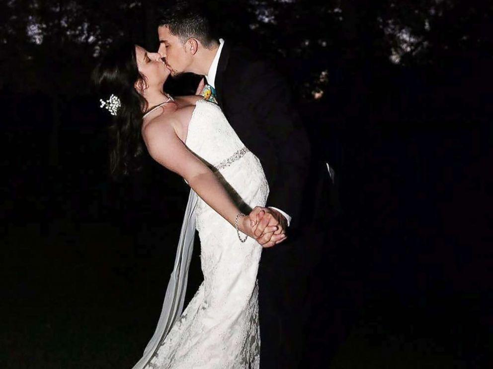 PHOTO: Jennifer Jensen, 24, and Bill Jensen, 27, share a kiss on their wedding day.