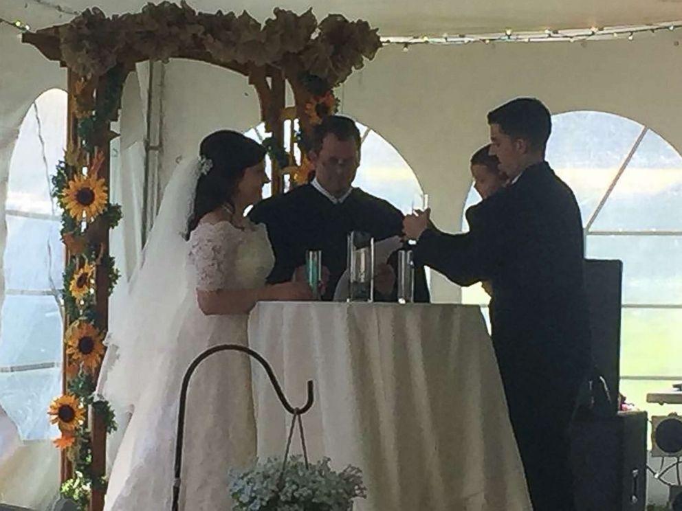 PHOTO: Judge Chris Wilton officiates at the wedding of Jennifer Jensen, 24, and Bill Jensen, 27, in Lakeville, Minn.