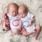 Harper, left and Maxwell, pose in a newborn photo shoot in October 2016. The babies' grandmother had won $24,000 in a game of bingo and gifted it to their mother, who conceived them via IVF.