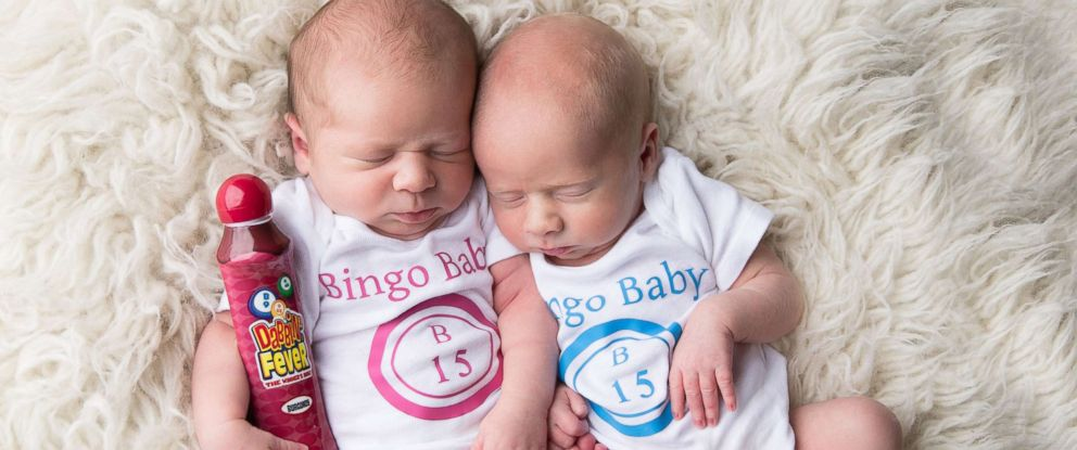 PHOTO: Harper, left and Maxwell, pose in a newborn photo shoot in October 2016. The babies grandmother had won $24,000 in a game of bingo and gifted it to their mother, who conceived them via IVF.