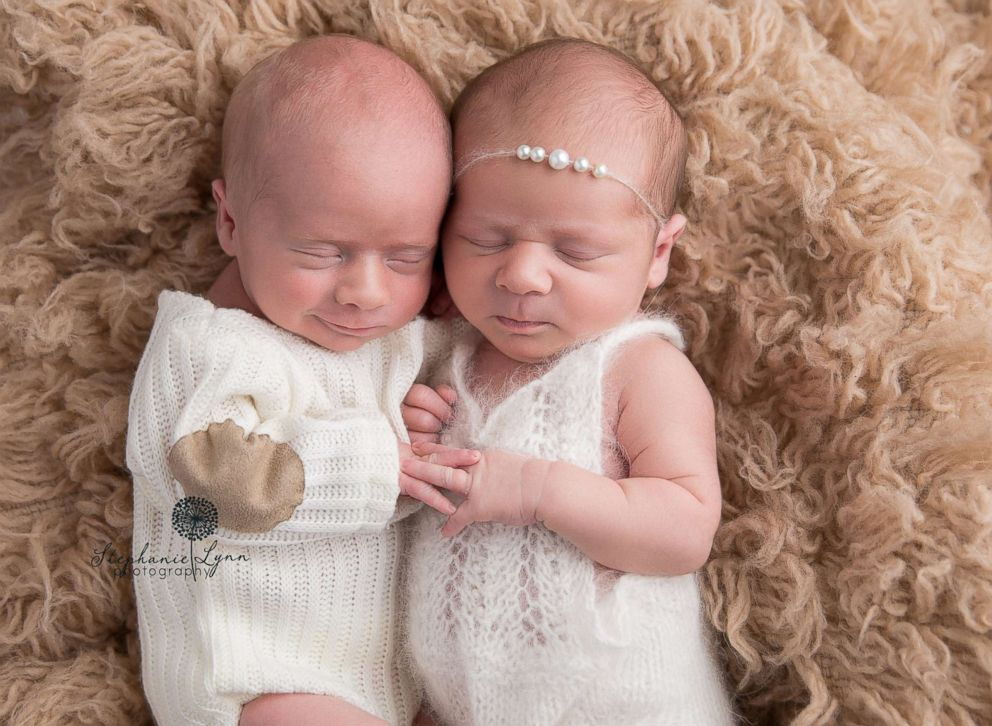 PHOTO: Harper, left and Maxwell, pose in a newborn photo shoot in October 2016.