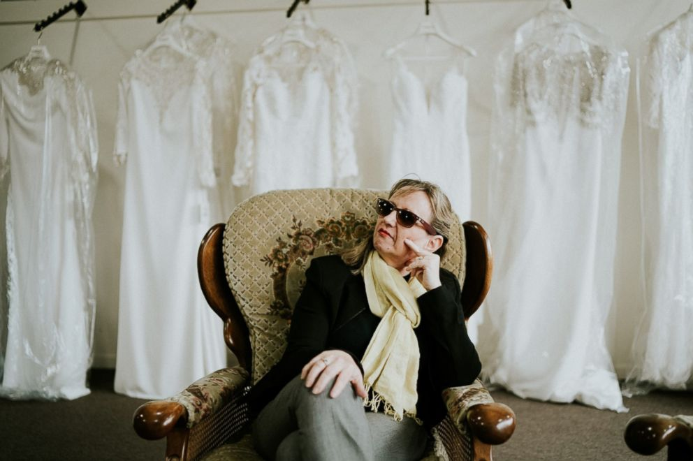 PHOTO: Blind bride Stephanie Agnews mother, whos also blind, goes with her to try on wedding dresses in South Melbourne, Victoria, Australia.