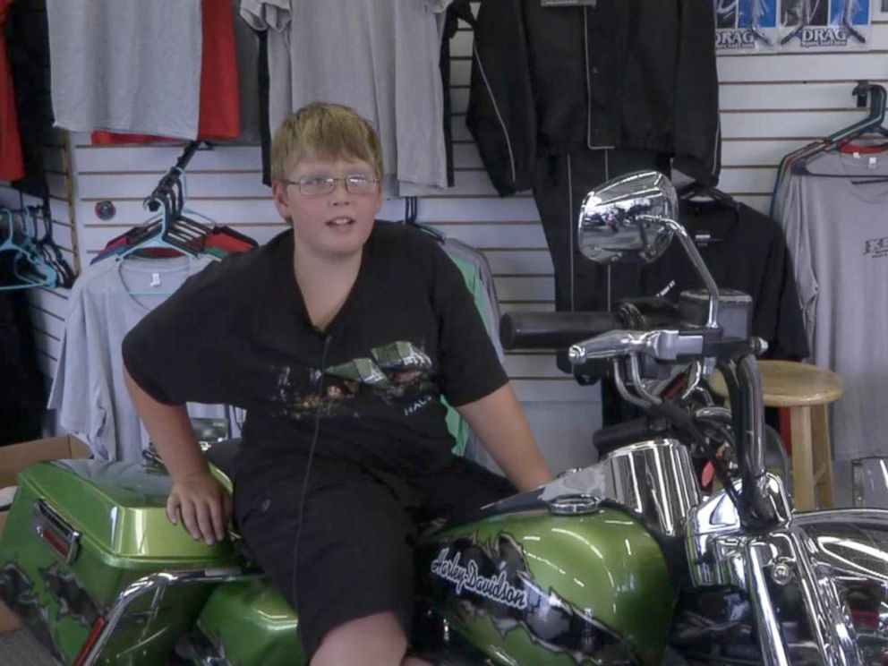 PHOTO: Phil Mick, 11, got a special motorcycle ride and escort for his trip to school Aug. 1 in Indiana, to help boost his confidence.