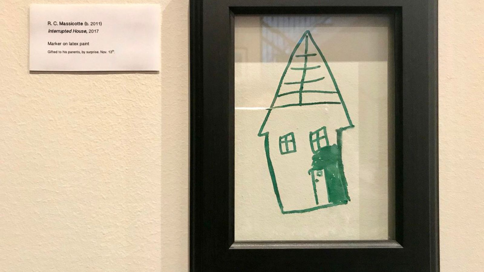 Mom Turns Son S Mischievous Drawing On A Wall Into Gallery Masterpiece Abc News