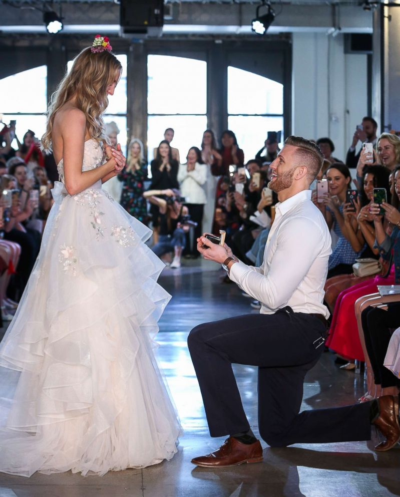 PHOTO: Chad Stapleton proposed to his now-fiancee Nicole Kaspar during Watters Bridal Spring 2019 fashion show, April 14, 2018.