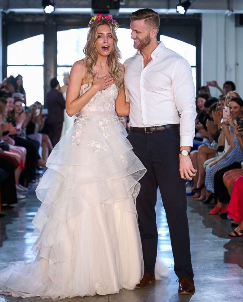 PHOTO: Model Nicole Kaspar was shocked when her then-boyfriend Chad Stapleton proposed to her during Watters Bridal Spring 2019 fashion show, April 14, 2018.