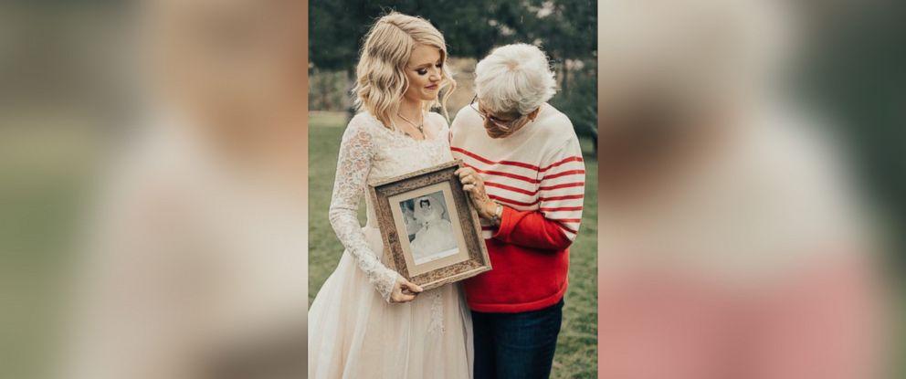 "PHOTO: Wedding photographer captures ""first look"" photos between a bride and her grandmother."