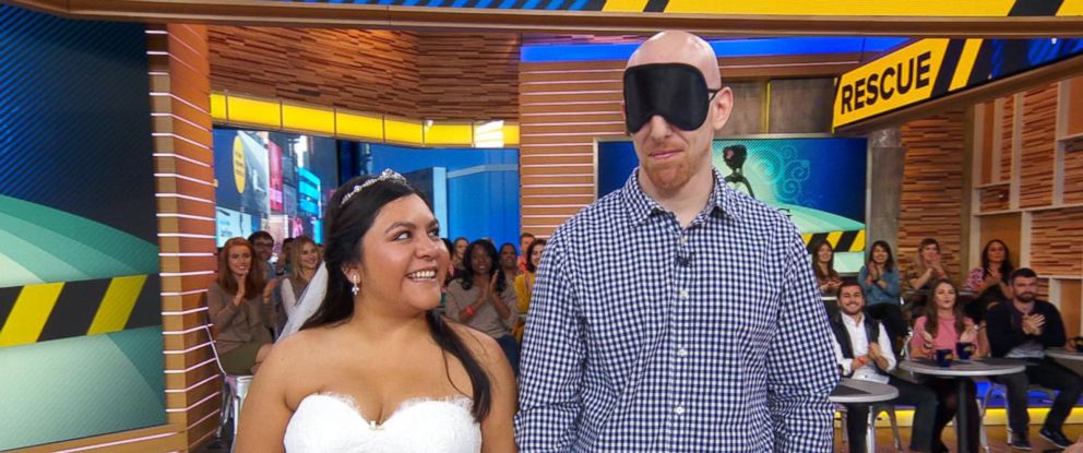 "PHOTO: Myrna Orozco and her fiance, Stephen Gallos of Texas, appeared on ABCs ""Good Morning America,"" Oct. 20, 2017, where Orozco chose a dress out of 20 designer garments, after losing her original gown in Hurricane Harvey."