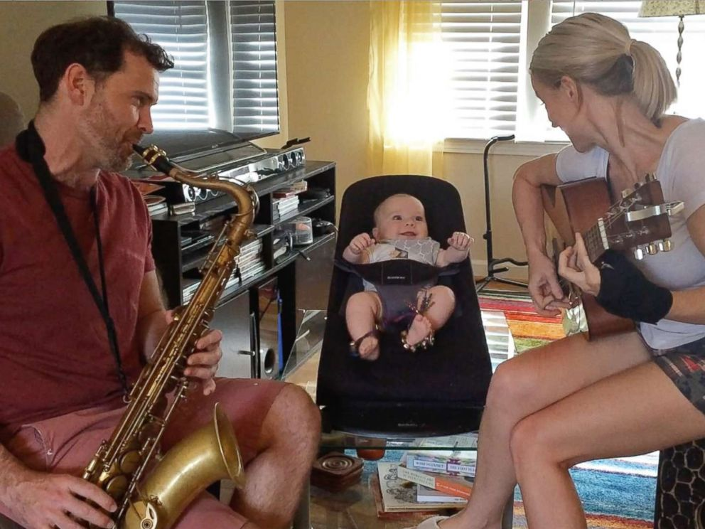 PHOTO: Bronkar and Cyndi Lee of Atlanta, Ga., play instruments with their 19-month-old son Elijah.