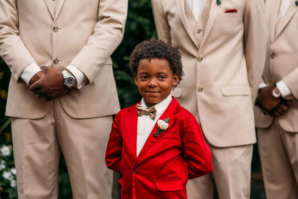 PHOTO: A smiling Bryson Suber, 6, looks at his mother Tearra Suber as she walks down the aisle on Sept. 4, 2016.