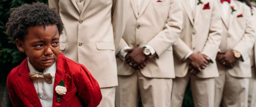 PHOTO: A photo of Bryson Suber, 6, sobbing as he watches his mother Tearra Suber walk down the aisle has gone viral.