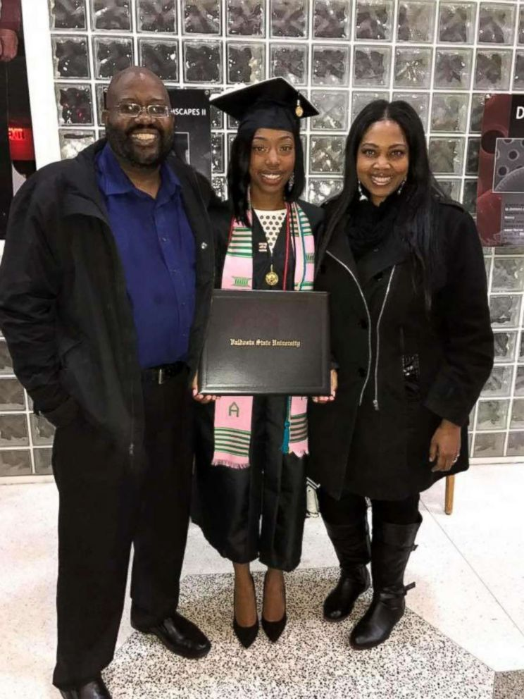 PHOTO: Vincent Raven with his step-daughter, Candace Terry, and his wife, Terri Raven on Terrys graduation day last year.