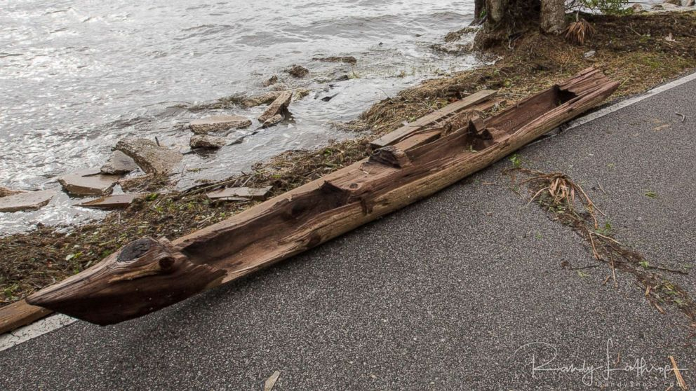 Randy Lathrop of Cocoa, Fla., discovered the historic dugout canoe, Sept. 11, 2017, after Irma struck the coast.